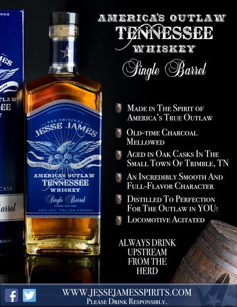 Jesse James America's Outlaw Single Barrel Tennessee Whiskey bottle