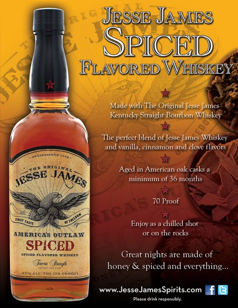 Jesse James American Outlaw Spiced Whiskey bottle
