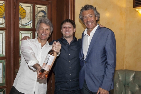 Jon Bon Jovi, Jesse Bongiovi and Gérard Bertrand at Diving into Hampton Water launch party