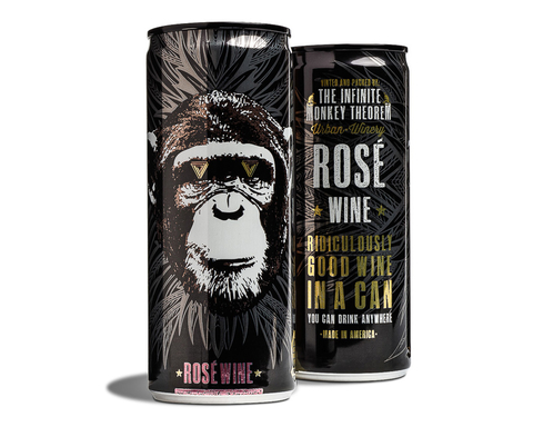 The Infinite Monkey Theorem canned rosé wine