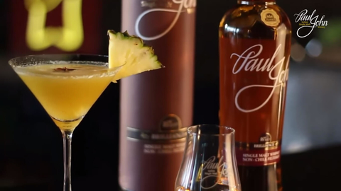 Brilliant Yellow Sapphire Martini cocktail by Paul John Single Malt Whisky, Shatbhi Basu and FoodLovers.in -
