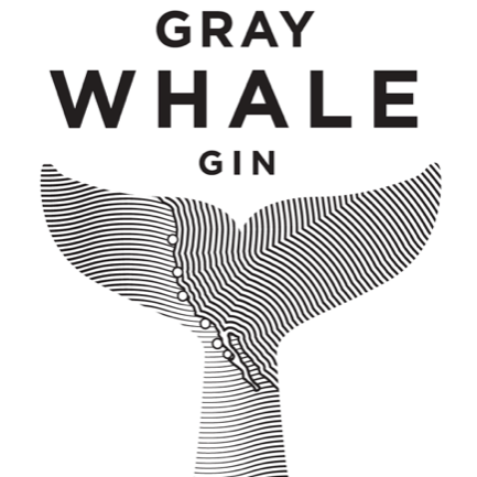 Gray Whale Gin whale tail logo in black and white