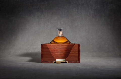 The Macallan 72 Years Old in Lalique, The Genesis Decanter box partly open