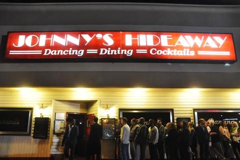 Line outside Johnny's Hideaway in Atlanta, GA -