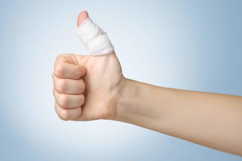 Bandaged thumbs up