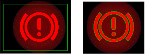 Fig. 4: These images show a comparison of static POI manually drawn in the software and Auto-POI (Automatic Points of Interest) adapted to an object based on color tolerances.