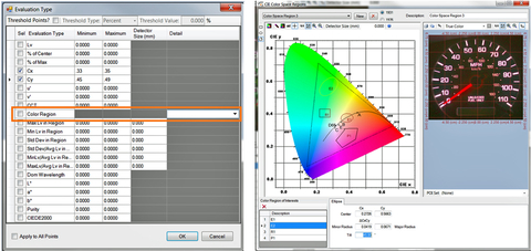 "Fig: 5: By selecting ""Color Region"" in the Auto-POI software tool, the user can draw shapes within the CIE color chart to define Cx, Cy tolerances for colored objects that should be included in the measurement POI set."