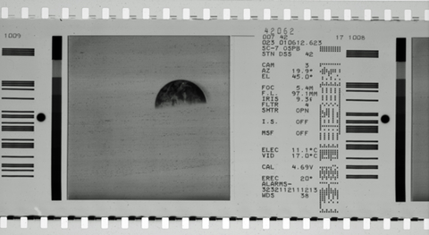 Typical film image from Surveyor mission, with a CRT display (left) and associated data fields (right).