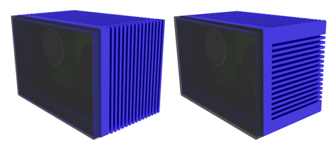 Fig. 2: LIDAR enclosure design with (left) side fins aligned vertically with gravity, (right) aligned with system airflow.
