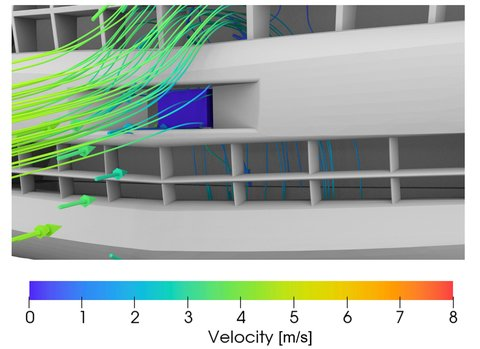 Fig. 5: Grill-mounted LIDAR [design C] thermal simulation model.