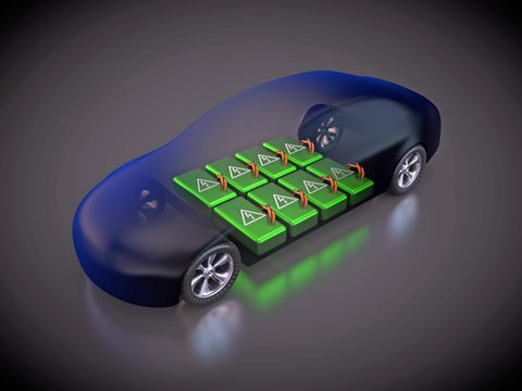 Fig. 1:  Electric Car and Its Battery Pack.