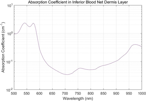 Fig. 3: This figure shows absorption coefficient in the inferior blood net dermis layer as a function of wavelength.