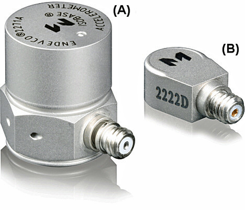 Fig. 6: On the left is a popular side-connector accelerometer that weighs 7.8 g and is used on heavy test articles (A). The miniature accelerometer (B) on the right weighs 0.5 g and can be mounted on lightweight structures and PC boards.