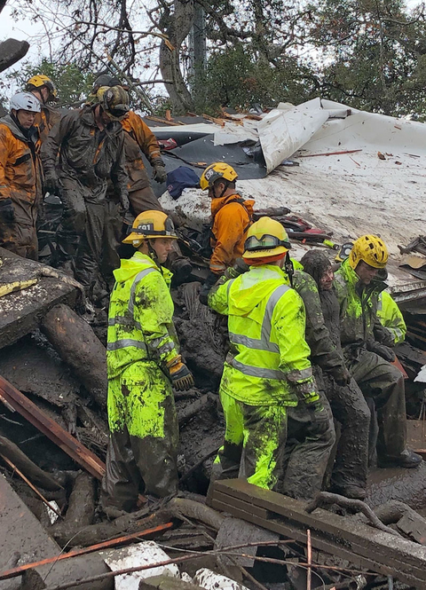 Firefighters successfully rescue a 14-year-old girl, right, after she was trapped for hours inside a destroyed home in Montecito, CA.