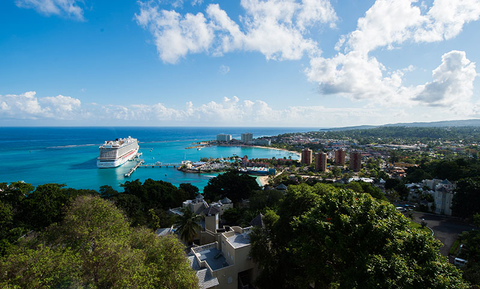 A cruise ship docked at Ocho Rios in Jamaica