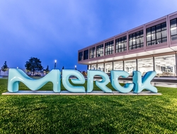 New Merck KGaA logo in front of company building