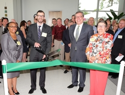 Tracey Lovett, David Price, Martin Meeson, Bob Geolas, Betty Jo Shepherd and Sen. Richard Burr attending the ribbon-cutting ceremony