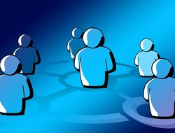 Blue people standing in circle