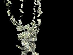 Paper money in a spiral