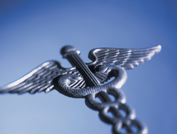 A photo of a Caduceus pin