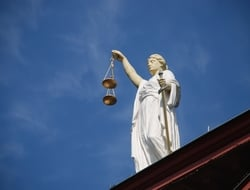 Statue holding justice scales