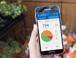 Hand holding phone with Glooko app against background of a garden