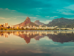 Skyline of Rio De Janeiro reflected on the water