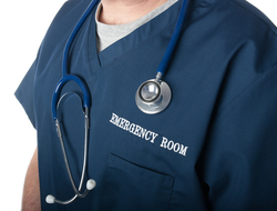 Emergency room doctor with stethoscope