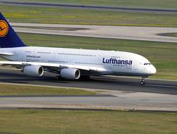 Lufthansa A380 aircraft on runway