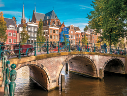 Amsterdam, the city of canals, is popular for its museums, restaurants and shopping.