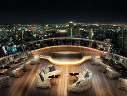 Outdoor deck of Alfresco 64 looking out over Bangkok, Thailand at night