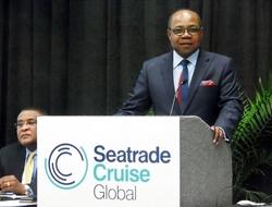 Jamaica Tourism Minister Edmund Bartlett Cruise Tourism Seatrade Presentation Editorial Use Only Copyright Susan J Young