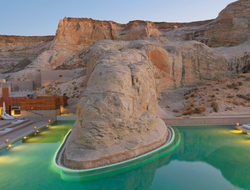 Amangiri in Canyon Point, UT, has 34 private suites with views of dunes, plateaus and mountain ridges. Seen here is the resort's swimming pool.