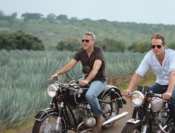 Rander Gerber and George Clooney on motorcycles