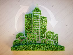 Green city made of leaves