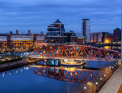 Salford Quays skyline in Greater Manchester, England