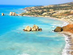 Petra tou Romiou, Aphrodite's legendary birthplace in Paphos, Cyprus.