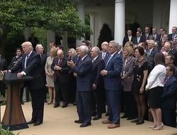 Donald Trump speaks in White House Rose Garden