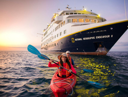 Kayaking in front of National Geographic Endeavor II