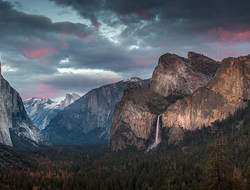 Valley and waterfall in Yosemite National Park