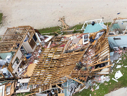 An aerial view shows significant damage caused by Hurricane Harvey in Rockport, Texas.