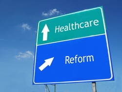 Signs saying healthcare reform