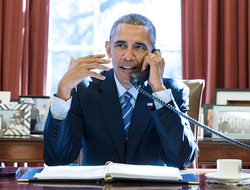 Barack Obama on phone