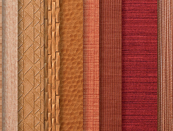 The collection's motifs juxtapose deep and micro-embossing to create a dimensional quality.