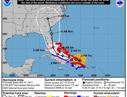 Map showing forecast track of Hurricane Irma as of Thursday afternoon