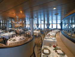 Amphora is the ship's open-seating restaurant that serves as a popular choice for breakfast.