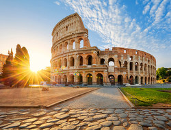 The Colosseum in Rome, Italy at sunrise