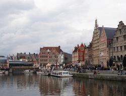 The Graslei harbour in Ghent, Belgium