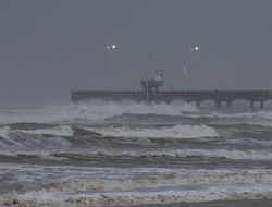 Surf rises at Bob Hall Pier Corpus Christi, Texas as Hurricane Harvey approaches.