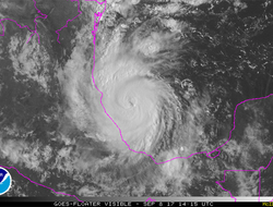 Satellite photo showing the position of Hurricane Katia as of Friday morning